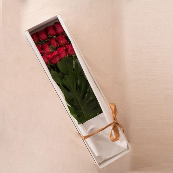 BE MINE A DOZEN LONG STEM RED ROSES IN A DISPLAY BOX