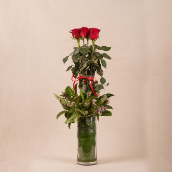 HALF DOZEN LONG-STEM ROSE IN VASE