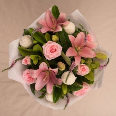 med pale pink flower bouquet