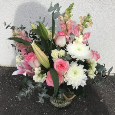 Florist Choice Flower Arrangement in a Jar Deluxe (Light Pink Theme)
