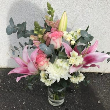 Florist Choice Flower Arrangement in a Jar (Light Pink Theme)