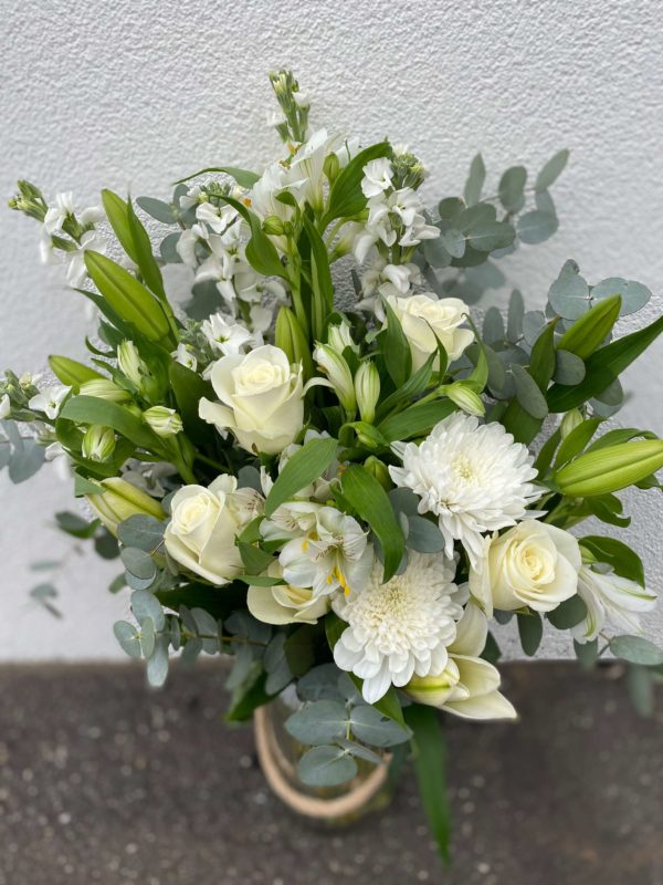 Florist Choice Flower Arrangement in a Jar Deluxe (White & Green Theme)