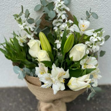 Florist Choice Flower Small Bouquet (White & Green Theme)